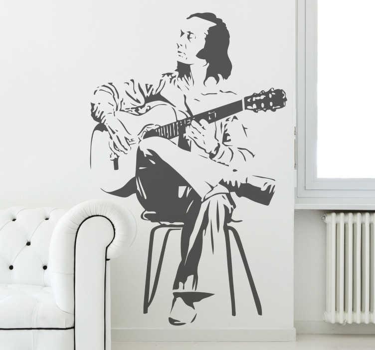 TenStickers. 파코 드 루시아 벽 장식. 유명한 스페인 기타리스트, paco de lucia를 보여주는 음악 벽 스티커. 플라멩코 팬을위한 이상적인 장식. 당신의 크기를 선택하십시오.