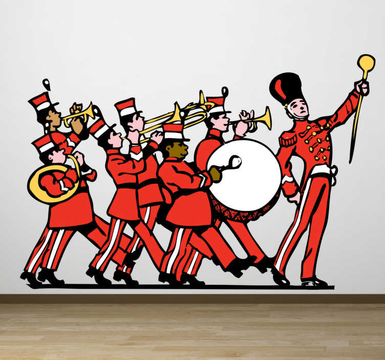 TenStickers. Sticker troupe musicale. Stickers représentant une troupe de musiciens donnant le rythme dans les rues de la ville.Sélectionnez les dimensions de votre choix pour personnaliser le stickers à votre convenance.
