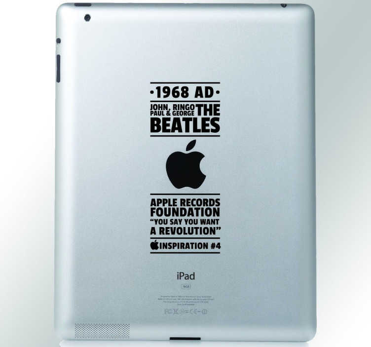 TenStickers. sticker decoratie voor Ipad inspiration Beatles. personaliseer uw apple toestel met deze leuke decoratie sticker. Een leuke sticker