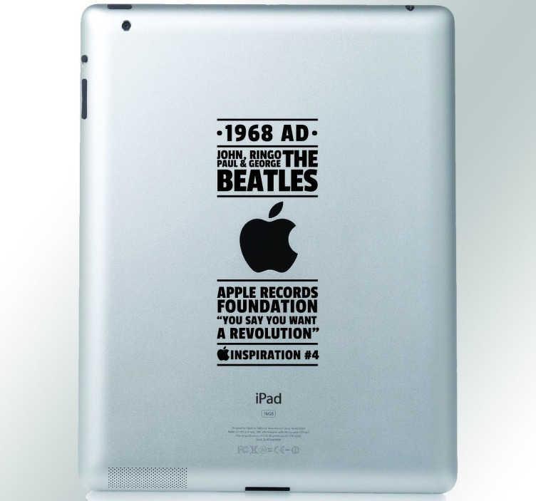 TenStickers. Beatles Ipad Sticker. Decoreer uw apple toestel met deze leuke decoratie sticker waar de namen van de leden van The Beatles op zijn afgebeeld. Dagelijkse kortingen.