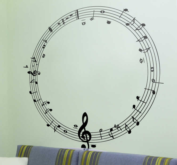 Autocollant mural cercle musical