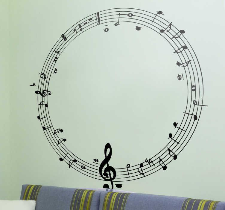 TenStickers. Sticker ronde muzieklijn. Deze muursticker omtrent een cirkelvormige muzieklijn met elegante krullen en leuke vrolijke bloemen. Ideaal voor muziekliefhebbers!