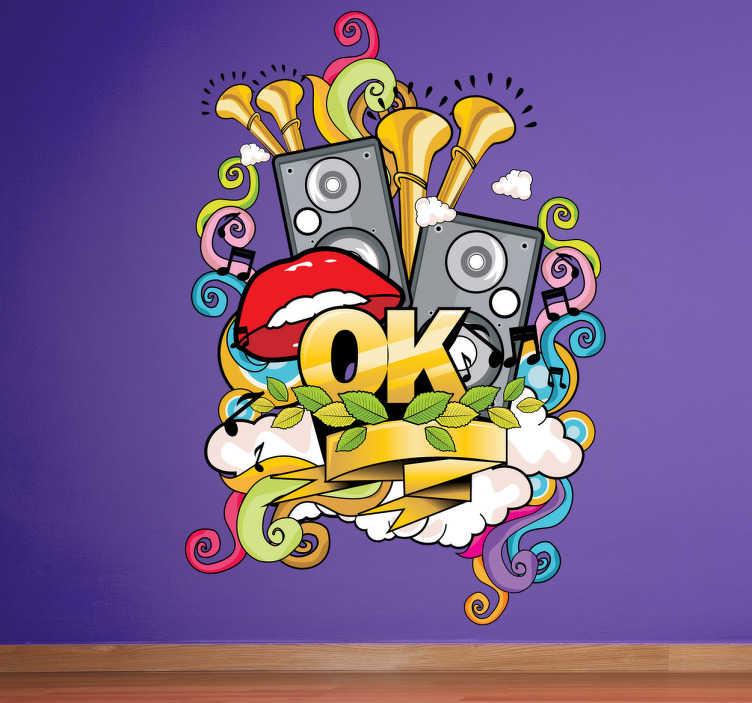 TenStickers. Graffiti Musical Aufkleber. Dekorativer und bunter Aufkleber für alle Musik Liebhaber. Auch ideal für die Dekoration von Kinderzimmern geeignet.