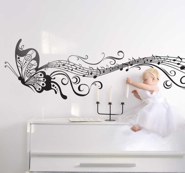 Tenstickers. Musical butterfly wall sticker. Et monokromt dekal som illustrerer en sommerfugl som flyr og forlater vakre musikalske notater spor bak.