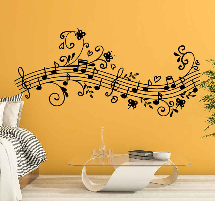 TenStickers. Floral Symphony Wall Decal. A fascinating vinyl sticker illustrating a line of musical notes with a touch of creativity by combining a floral design to it.