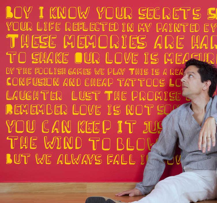 TenStickers. Adesivo murale Unfinished Business. Wall sticker che riporta una nota strofa della canzone Unfinished Business di Boy George.