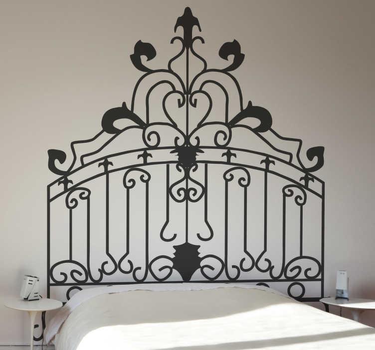 TenStickers. 洛可可式床头墙贴花. 床头板-床上方的独特装饰。洛可可主题墙贴纸有50种颜色和各种尺寸。