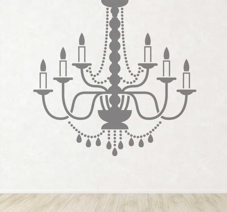 TenStickers. Naklejka deokracyjna żyrandol ze świeczkami. Naklejka dekoracyjna przedstawiająca żyrandol z prawdziwymi świeczkami w stylu barokowym.