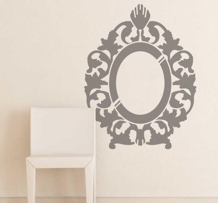 TenStickers. Autocollant mural miroir ornements. Stickers mural illustrant un miroir au style vintage élégamment décoré.Sélectionnez les dimensions et la couleur de votre choix.Idée déco originale et simple pour votre intérieur.