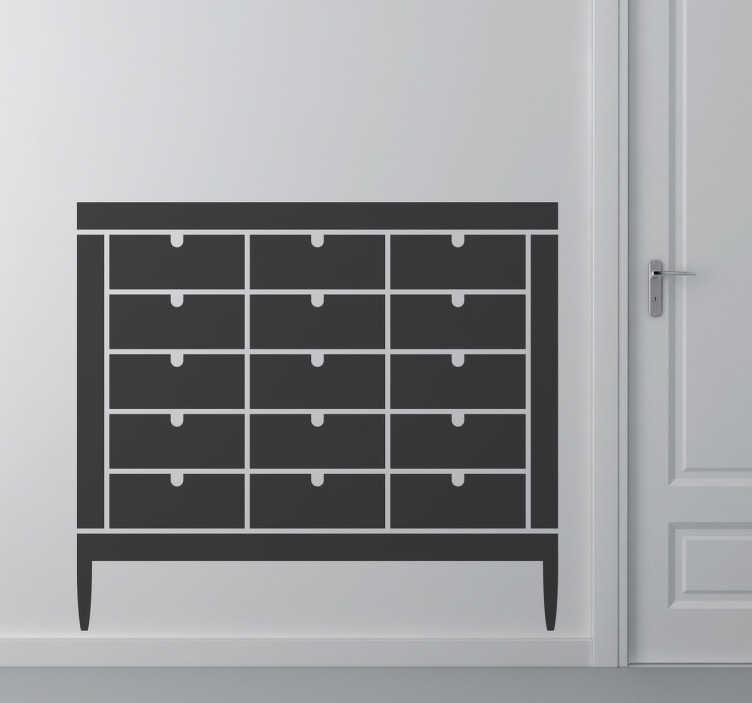 TenVinilo. Vinilo decorativo icono muebles. Representación en adhesivo de la silueta de una cajonera archivador de oficina.