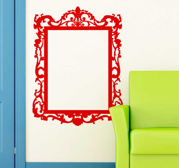 TenStickers. Decorative Mirror Frame Sticker. Ornamental decorative frame with a vintage floral style.