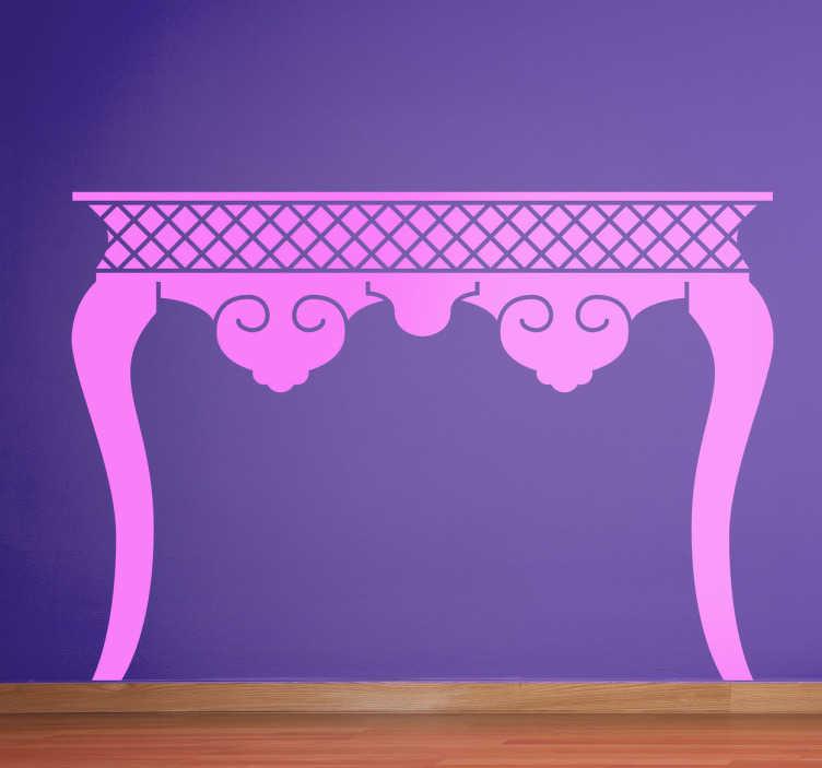 TenVinilo. Vinilo decorativo silueta mesa clásica. Adhesivo con la silueta de una pieza de mobiliario de anticuario, disponible en gran variedad de colores.