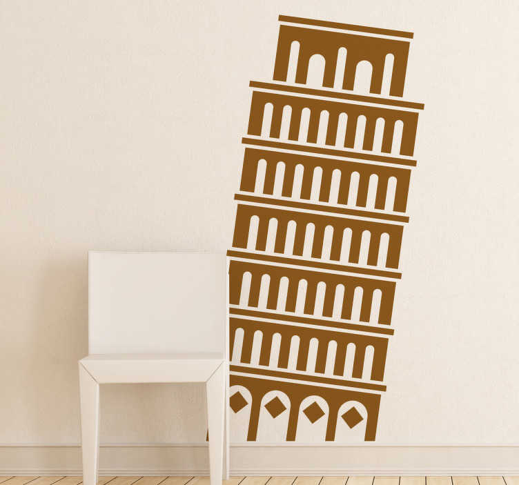 autocollant mural pictogramme tour de pise tenstickers. Black Bedroom Furniture Sets. Home Design Ideas