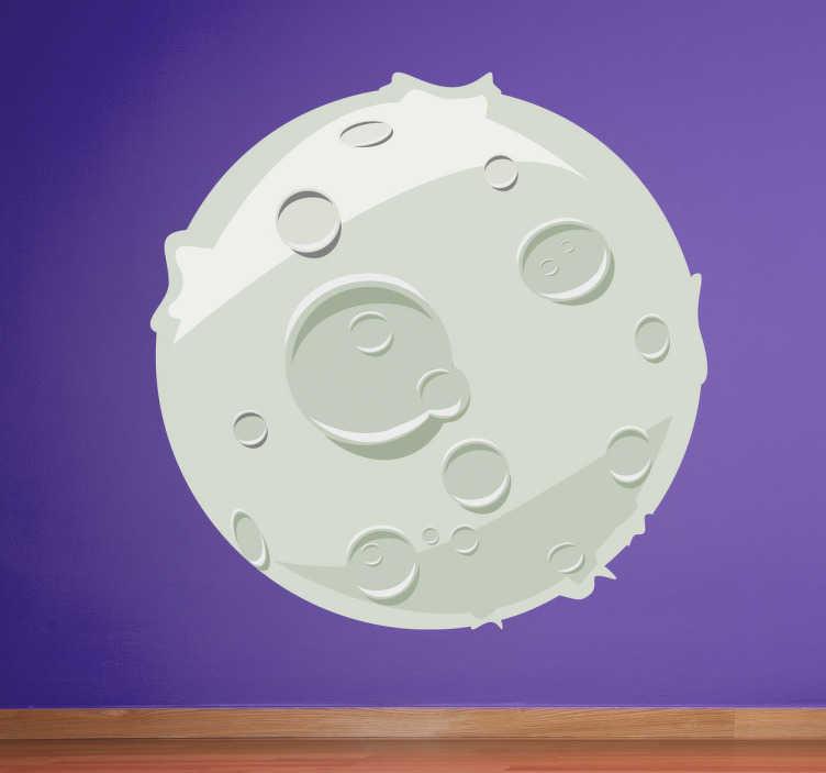 TenStickers. 月亮图墙贴. 这张卡通月亮墙贴纸展示了一个简单而有趣的月亮设计,包括所有陨石坑,来自我们的太空墙贴花。这个儿童墙贴非常适合装饰他们的卧室或托儿所,以真正设置心情,并为家居装饰增添最后的感觉。
