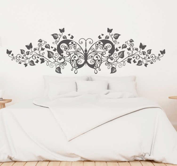 TenStickers. Sticker decoratie natuur en vlinder. Een muursticker met een abstract design van een vlinder gecombineerd met een plant. Leuke wanddecoratie voor de muren in uw woning.