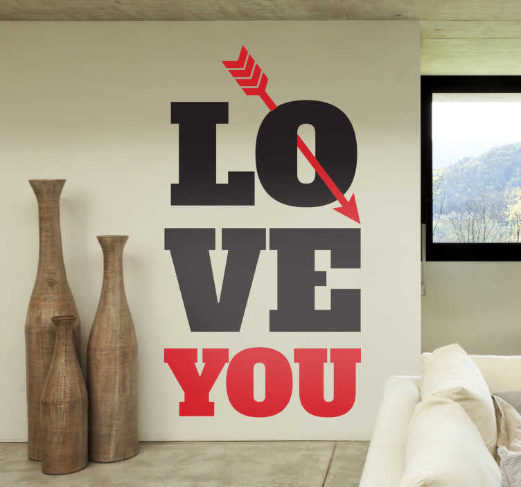 TenStickers. Love You Text and Arrow Wall Sticker. Wall Stickers - Add a touch of love and romance to any space. You can also personalise this design to suit you!