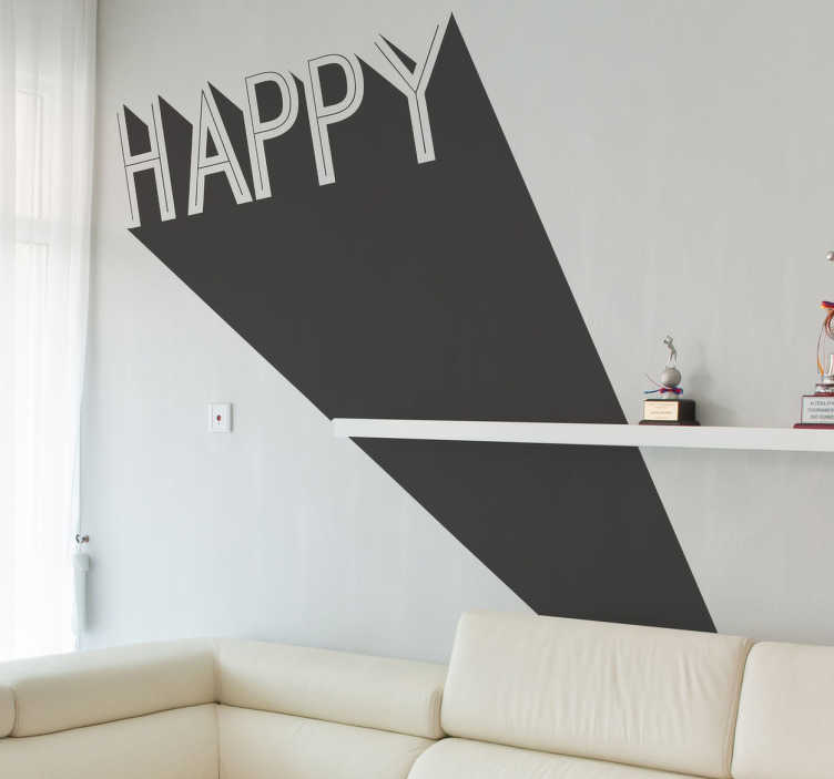 TenStickers. Sticker happy 3d. Een originele 3D sticker met de tekst Happy. Deze muursticker heeft een zeer leuk effect, het lijkt net of het woord uit de muur komt.