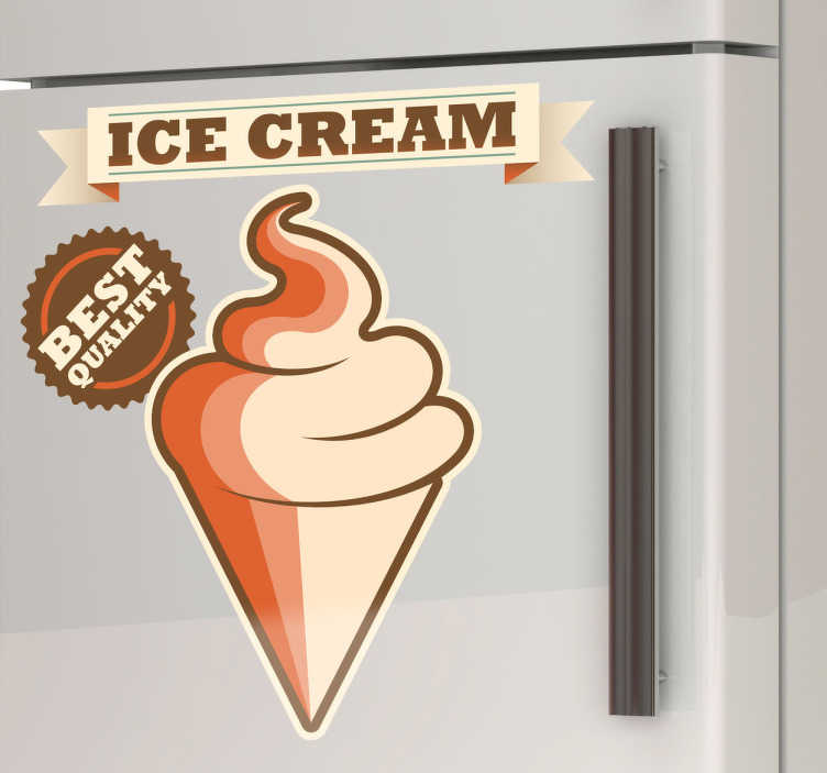 TenStickers. Advertising Ice Cream Sign Decal. A vintage sign decal illustrating an ice cream from our collection of retro wall stickers! Perfect for those that sell ice cream or simply love it!