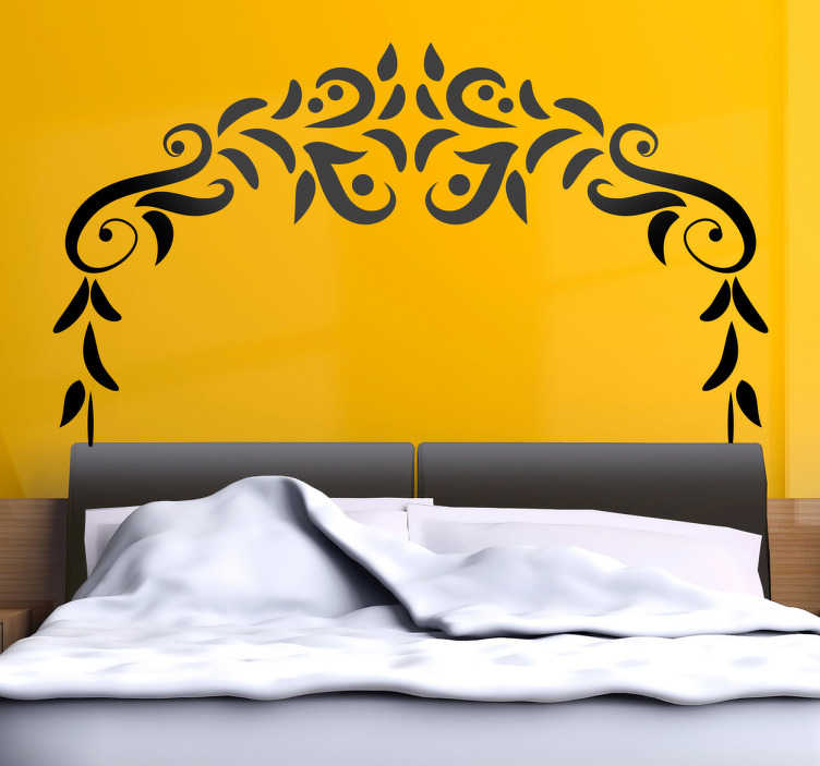 TenStickers. Symmetrical Ornament Headboard Wall Decal. Headboards - Distinctive decoration feature above your bed. Floral themed wall sticker available in 50 colours and various sizes.