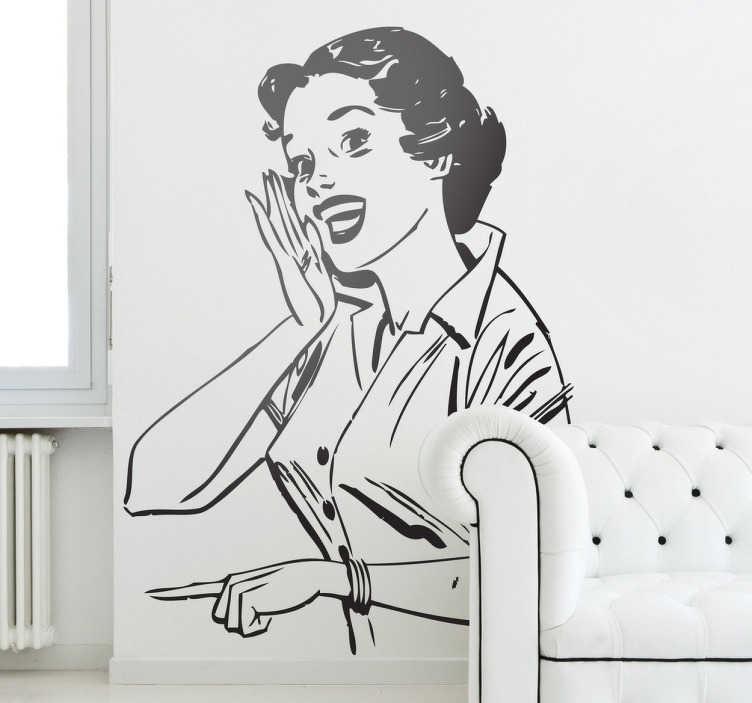 TenStickers. Naklejka podano do stołu. Naklejka na ścianę inspirowana stylem retro przedstawiająca kobietę, która nawołuje domowników do zjedzenia posiłku.