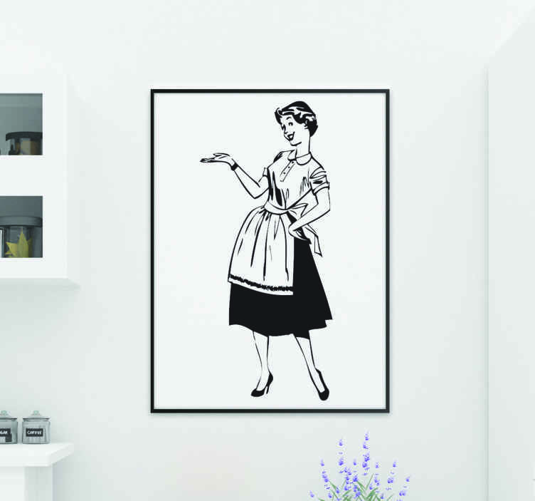 TenStickers. Lady in the House Vintage Decal. A detailed illustration with a vintage design of a young and elegant housewife. Brilliant vintage decal from our collection of retro wall stickers.