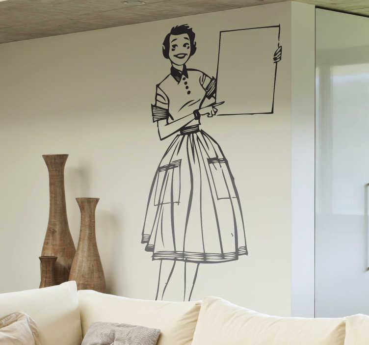TenStickers. Naklejka retro nauczycielka. Monochromatyczna naklejka przedstawiająca uśmiechnietą nauczycielkę w vintage suknii trzymająca tablicę. Czy nauka nie byłaby łatwiejsza z taką nauczycielką?