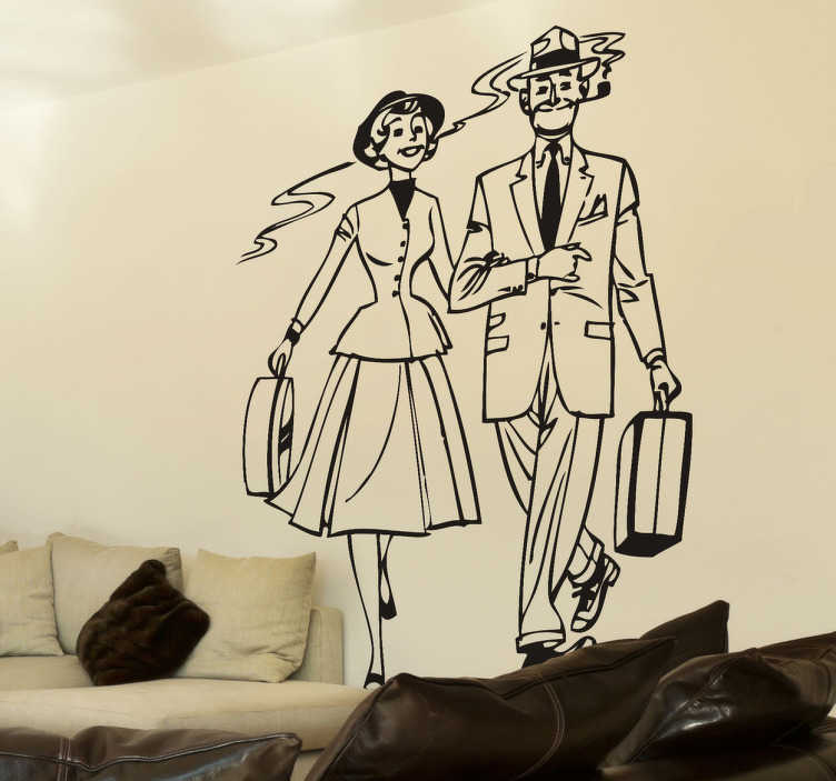 TenStickers. 1950s Couple Sticker. Mono-colour illustration of a man and a woman walking together dressed in elegant 1950s style clothing.