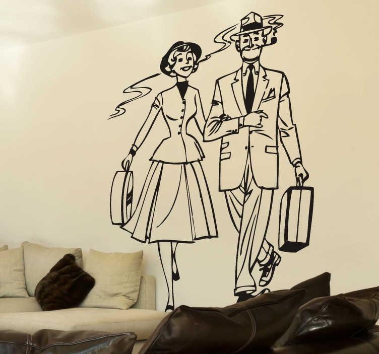 TenStickers. Autocollant mural rétro voyage couple. Stickers mural rétro représentant un couple partant en voyage.Personnalisez et adaptez le stickers à votre surface en sélectionnant les dimensions de votre choix.