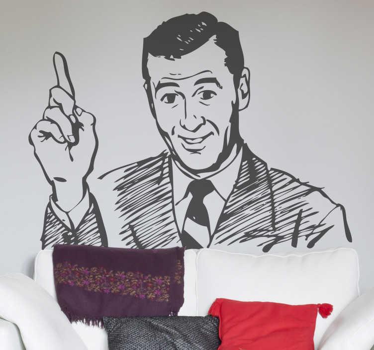 TenStickers. Naklejka doradca. Naklejka na ścianę imitująca ołówkowy obrazek mężczyzny z uniesionym palcem wskazującym, co może sugerować, że ma nam do powiedzenia coś ważnego.