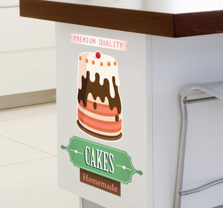 TenStickers. Advertising Cake Sign Decal. Decals - Illustration of a delicious cake accompanied with text. Ideal for businesses such as bakeries and cafes. Wall stickers.