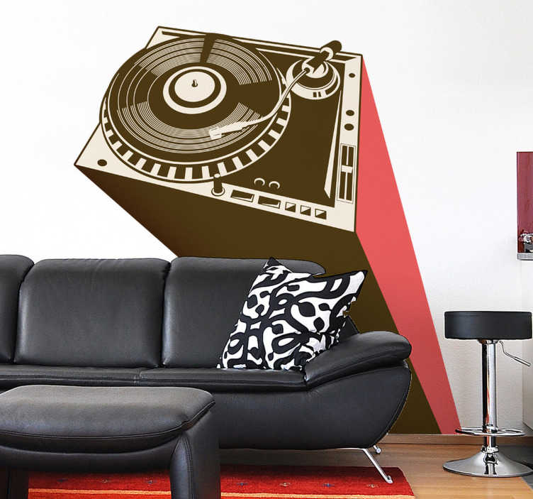 TenStickers. Turntable DJ Deck Wall Sticker. Wall Stickers - Urban illustration of a DJ turntable. Ideal for aspiring DJs, musicians and music lovers. Available in various sizes.