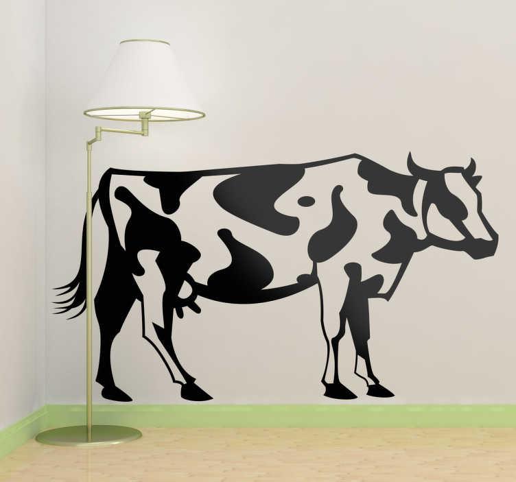 TenStickers. Naklejka dekoracyjna rysunek krowy. Rysunek jednokolorowy przedstawiający rosłą krowę. Obrazek jest dostępny w wielu wymiarach.