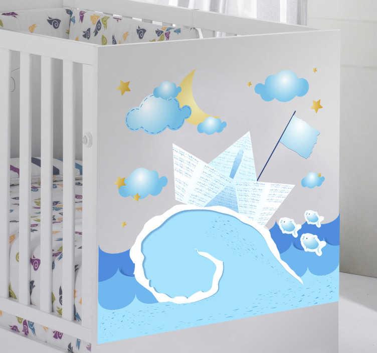 TenVinilo. Vinilo infantil barquito de papel. Atractivo dibujo tipo collage adhesivo de un barco navegando bajo una noche estrellada.