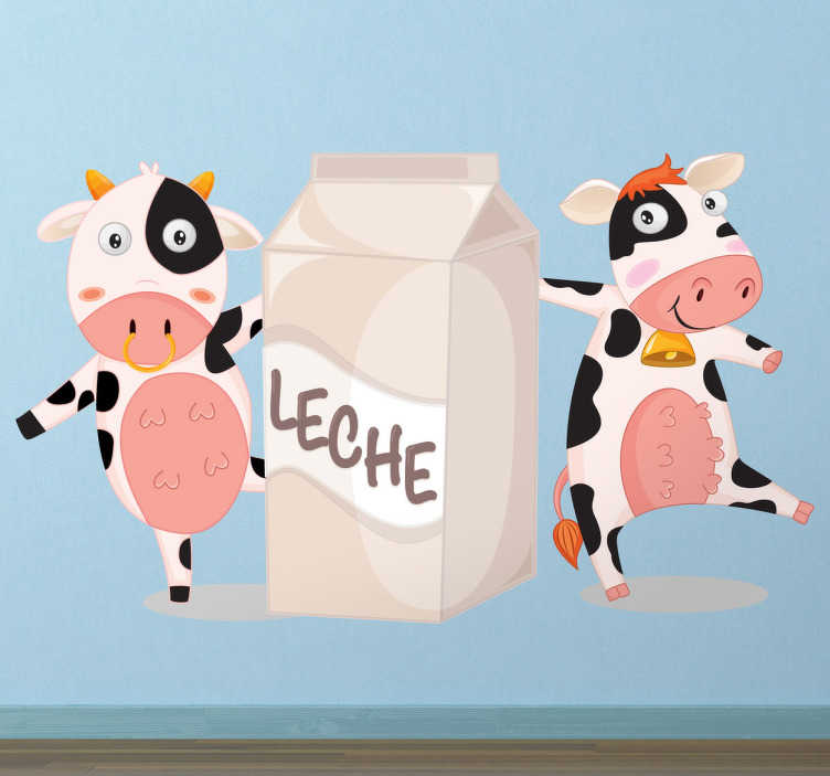 TenVinilo. Vinilo infantil vacas tetra brik. Divertida pegatina con la que podrás animar a los más pequeños a que beban leche.