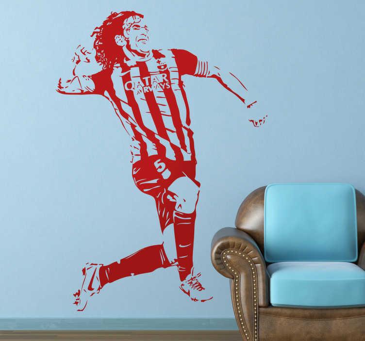 TenStickers. Wall sticker Carles Puyol. Wall sticker decorativo che raffigura Carles Puyol Saforcada, uno dei giocatori più famosi spagnoli. Sticker ideale per tutti gli amanti di questo grande giocatore.