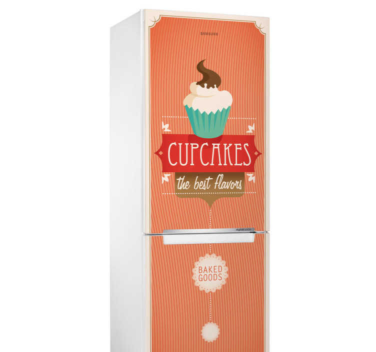 TenStickers. Vinil decorativo frigorífico cupcakes. Vinil decorativo estilo retro para frigorífico. Adesivo autocolante de um cupcake, em português, bolinho ou queque.