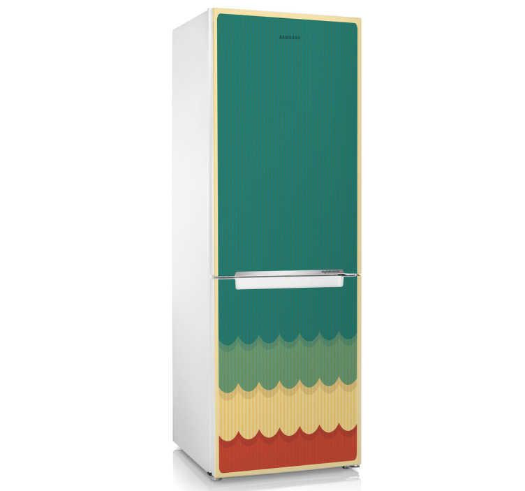 TenStickers. Vinil decorativo para frigorífico retro. Vinil decorativo com um padrão vintage ideal para se colocar num frigorífico. Adesivo autocolante ideal para decoração de cozinhas.