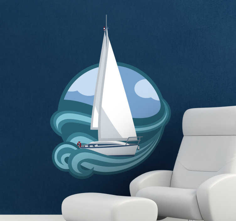 TenStickers. Sailing Boat Sticker. Superb design of a sailing boat for your home from our collection of sea wall stickers. Perfect for those that love sailing.