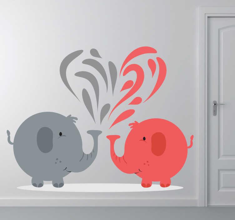 Sticker enfant éléphants gris et rouge