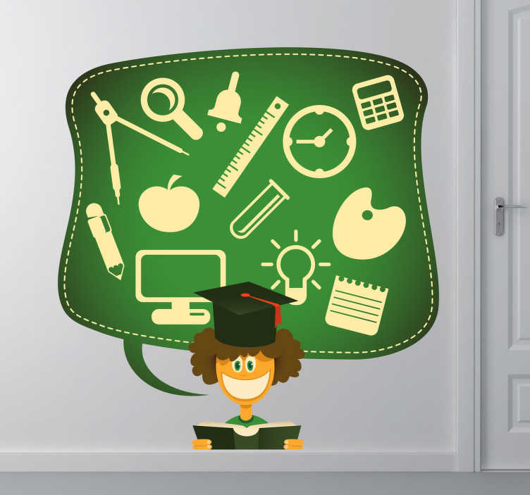 TenStickers. Sticker kind leraar school. Deze sticker omtrent een docent die volgens de praatwolk boven hem spreekt over verscheidene basisschool onderwerpen. Ideaal voor kinderen!