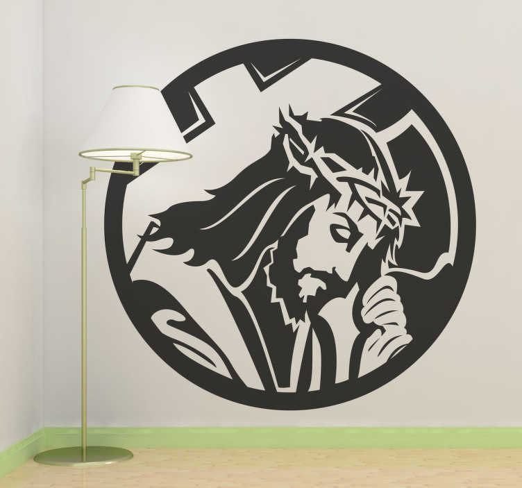 TenStickers. Naklejka dekoracyjna Chrystus. naklejka na ścianę przedstawiająca Jezusa Chrystusa niosącego krzyż. Część drogi krzyżowej i męki pańskiej. naklejki na ścianę. naklejki kościelne. naklejki religijne.