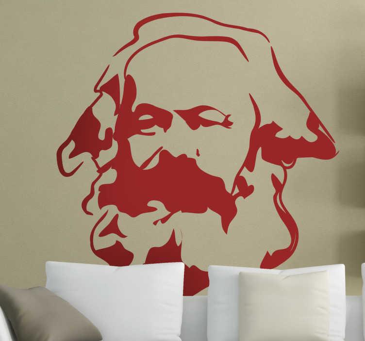 TenStickers. Karl Marx Portret sticker. Een muursticker van de beroemde Duitse filosoof, econoom, journalist en revolutionair socialistisch, Karl Marx.