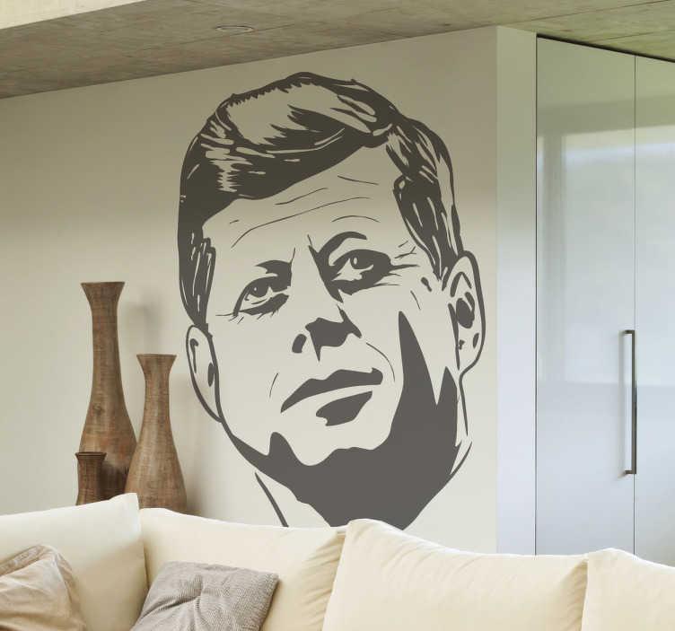 TenStickers. Adesivo murale volto Kennedy. Wall sticker che raffigura il viso dello famoso e sfortunato presidente americano che fu assassinato a Dallas il 22 novembre 1963. Una decorazione ideale per i piú nostalgici.