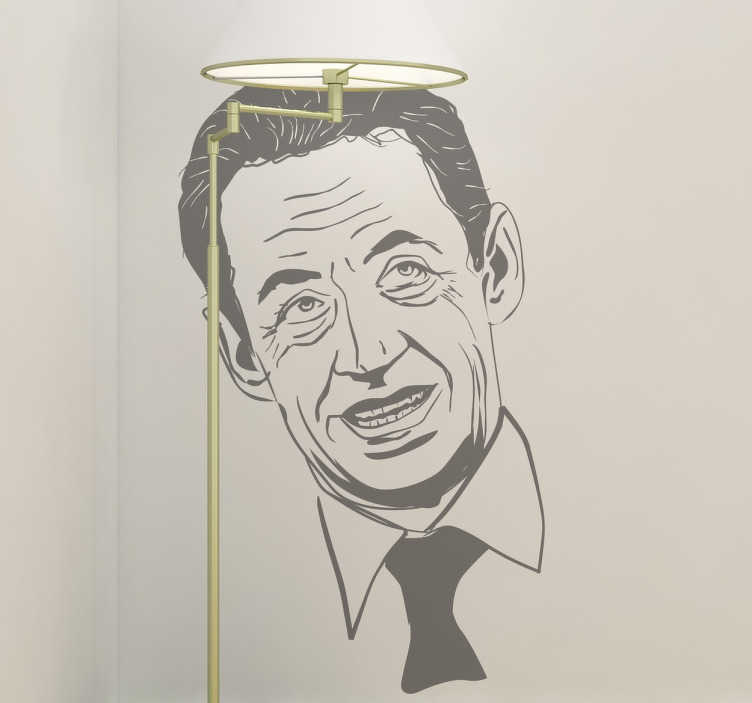 TenStickers. Sarkozy Portrait Sticker. A sticker with a detailed portrait of the former president of the French Republic.