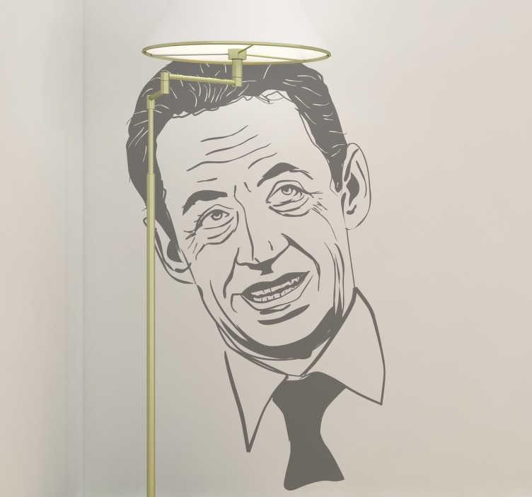 TenStickers. Sticker decorativo volto Sarkozy. Adesivo murale che raffigura il famoso marito di Carla Bruni, l'ex presidente della Francia. Una decorazione originale per i fan di questa nota figura politica.