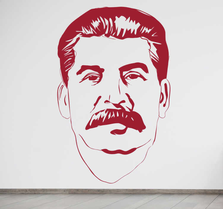 TenStickers. Stalin Portrait Sticker. Monochrome sticker of perhaps the most famous president of the Soviet Union.