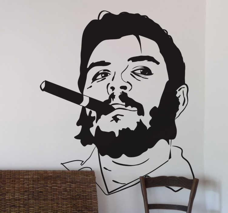 TenStickers. Sticker portrait Che. Stickers illustrant le portrait du célèbre révolutionnaire argentin, El Che.Adoptez ce stickers pour une décoration d'intérieur qui ne passera pas inaperçue.