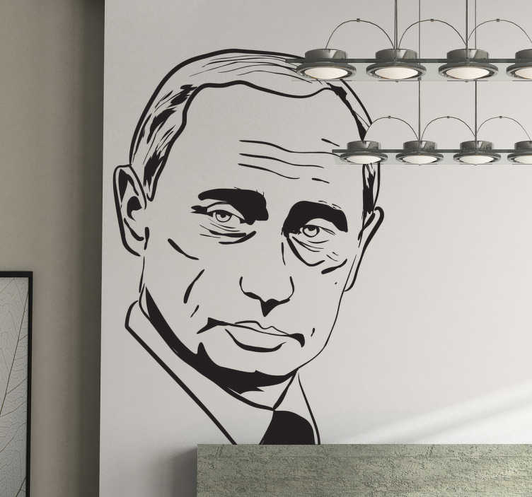 TenStickers. Vladimir Putin Portrait Sticker. A mono-colour portrait sticker of the famous and controversial president of Russia.
