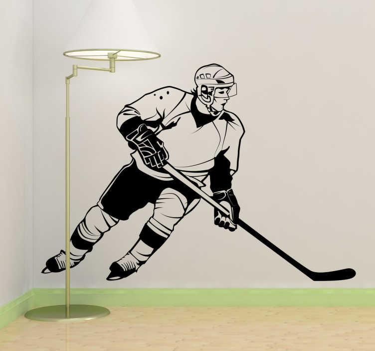 TenStickers. 曲棍球运动员贴纸. 曲棍球墙贴 - 曲棍球运动员在行动中的单色设计。曲棍球迷的伟大运动墙贴纸。