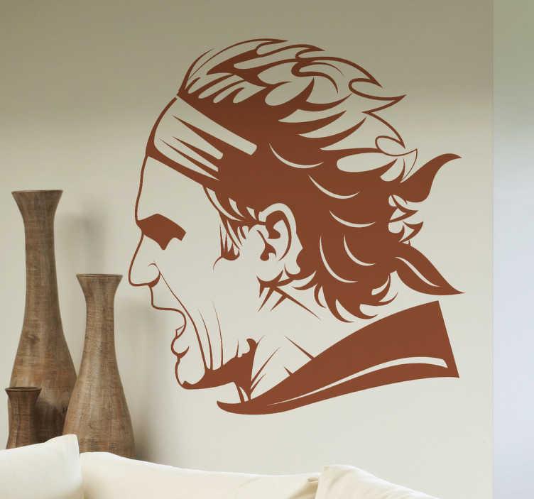 TenStickers. Sticker Roger Federer. Stickers illustrant le joueur suisse Roger Federer, l'icône mondial de tennis.Sélectionnez les dimensions de votre choix pour personnaliser le stickers à votre convenance.Jolie idée déco pour les murs de votre intérieur pour les fans de tennis !